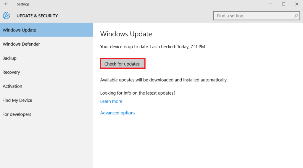 Check Driver and Windows Updates