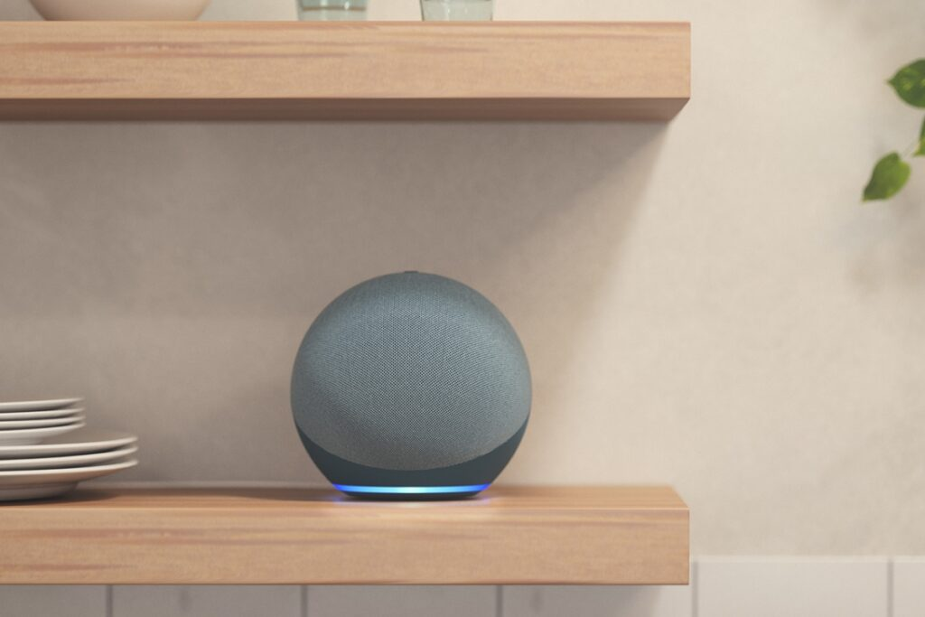 New Echo Dots with Clock and Echo Smart Speakers With a New Spherical Design